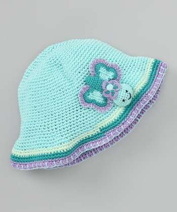 Aqua Butterfly Crochet Bucket Hat