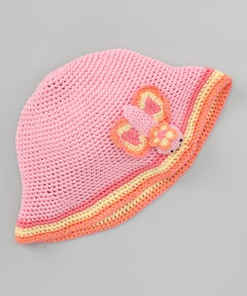 Pink Butterfly Crochet Bucket Hat