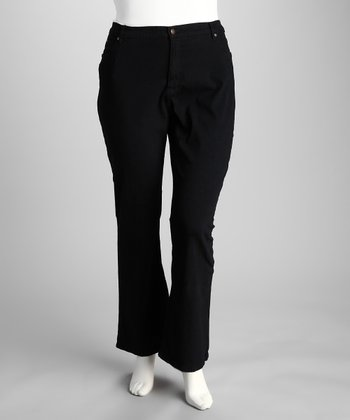 Bestow Black Pocket Plus-Size Bootcut Jeans