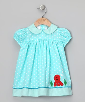 Aqua Polka Dot Octopus Babydoll Dress - Toddler