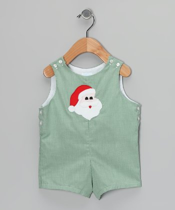 Kelly Green Santa Shortalls - Infant & Toddler