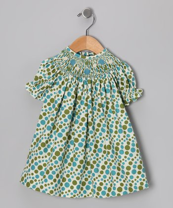 Sage & Aqua Polka Dot Bishop Dress - Toddler & Girls