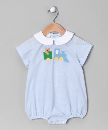 Blue Gingham Train Bubble Bodysuit - Infant