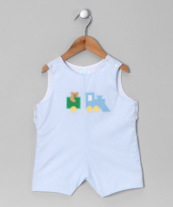 Blue Gingham Train Shortalls - Toddler