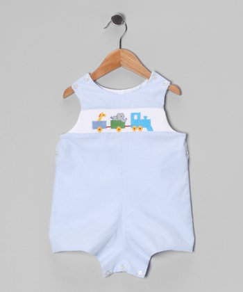 Blue Gingham Train Bodysuit - Toddler