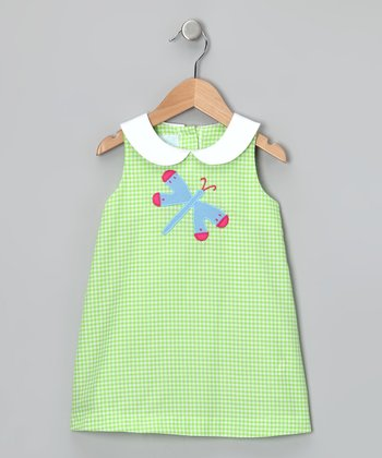 Green Dragonfly Collar Dress - Girls