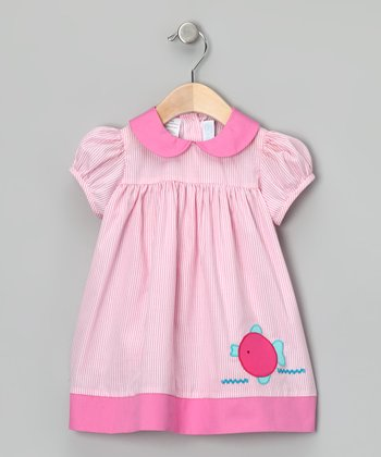 Pink Stripe Fish Babydoll Dress - Infant & Toddler