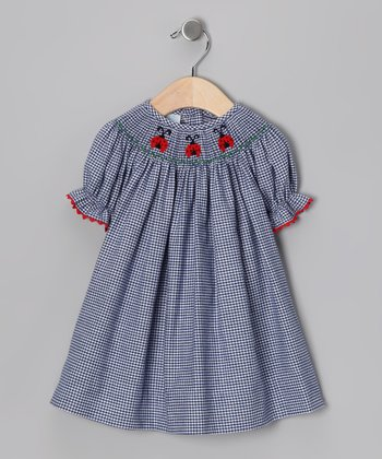 Navy Ladybug Bishop Dress - Infant, Toddler & Girls