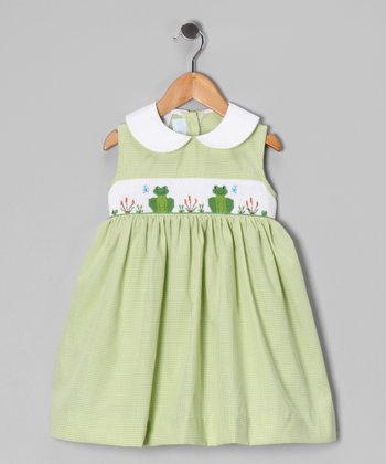 Green Gingham Frog Smocked Dress - Toddler & Girls
