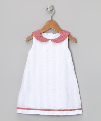 White & Red Gingham Collar Dress - Girls