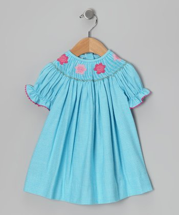Turquoise Flower Bishop Dress - Toddler