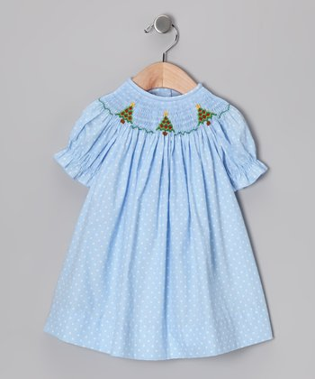 Light Blue Christmas Tree Bishop Dress - Infant, Toddler & Girls