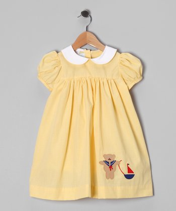 Yellow Gingham Teddy Sailor Babydoll Dress - Toddler