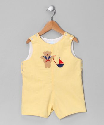 Yellow Gingham Teddy Bear Shortalls - Toddler