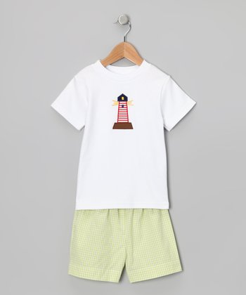 White Lighthouse Tee & Green Shorts - Infant