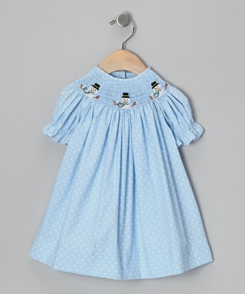 Light Blue Snowman Bishop Dress - Infant, Toddler & Girls