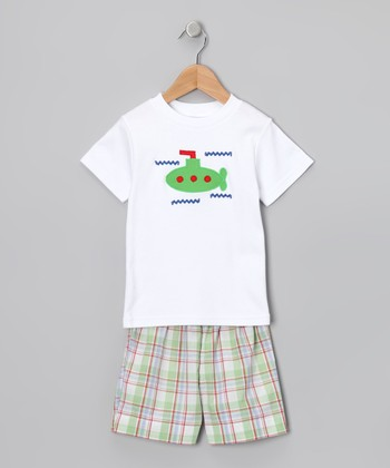 White Submarine Tee & Green Shorts - Infant
