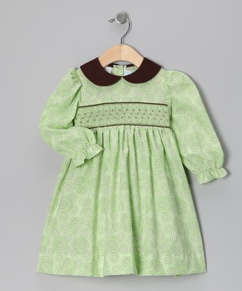 Lime & Brown Dot Dress - Girls