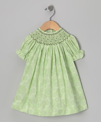 Lime & Brown Dot Bishop Dress - Infant, Toddler & Girls
