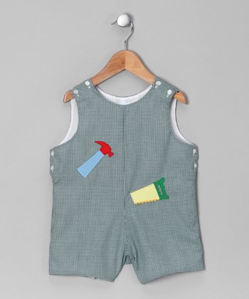 Forest Green Gingham Little Builder Shortalls - Toddler