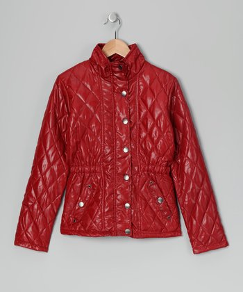 Red Quilted Jacket - Girls