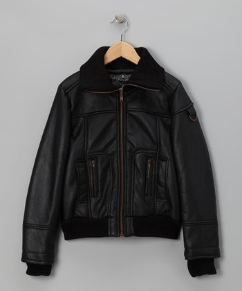 Black Faux Leather Jacket - Girls