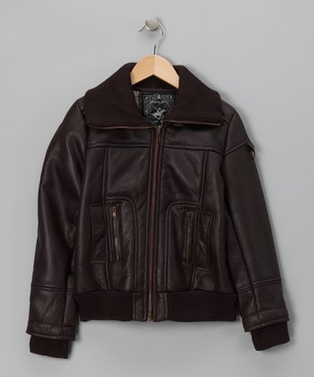 Brown Faux Leather Jacket - Girls