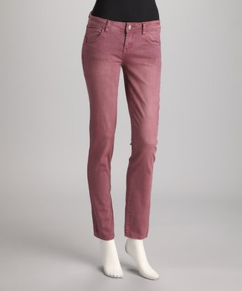 Wine Vintage Wash Straight-Leg Jeans