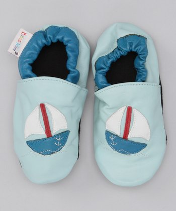 Bibi & Mimi Light Blue Sailboat Booties