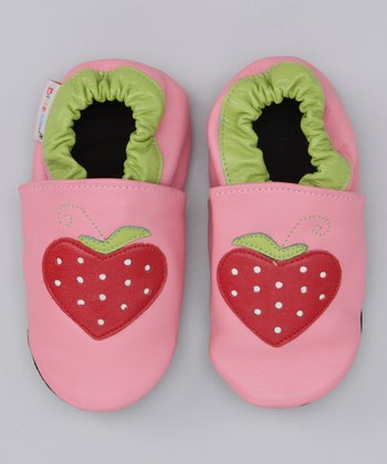Bibi & Mimi Pink & Green Strawberry Booties