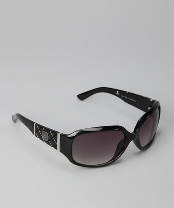 Black Quilted Oval Sunglasses