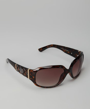 Tortoiseshell Quilted Oval Sunglasses
