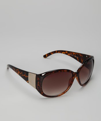 Tortoiseshell & Gold Oval Sunglasses