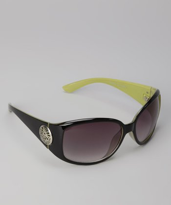 Green Contrast Square Sunglasses