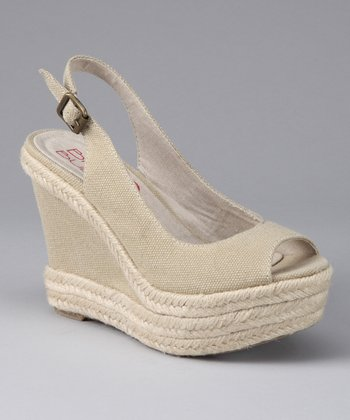 Natural Fiona Wedge Slingback