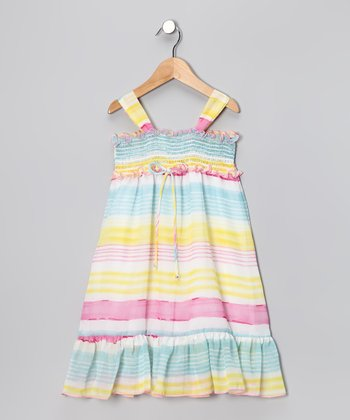 Blue & Yellow Chiffon Maxi Dress - Toddler & Girls