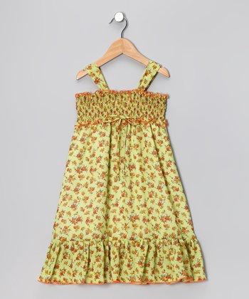 Green Blossom Chiffon Maxi Dress - Toddler & Girls