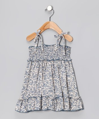 Navy Floral Smocked Dress - Toddler & Girls