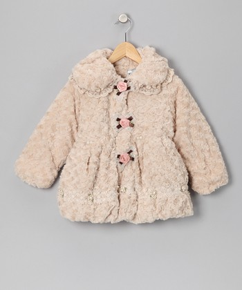 Ivory & Pink Rose Faux Fur Coat - Infant, Toddler & Girls