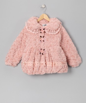 Pink Rose & Pearl Faux Fur Coat - Infant, Toddler & Girls