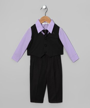 Lavender & Black 4-Piece Suit