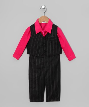 Fuchsia & Black 4-Piece Suit