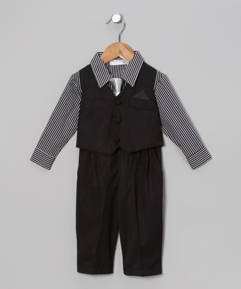 Black Stripe 4-Piece Suit