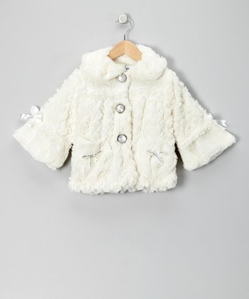 Ivory Pearl Faux Fur Coat - Girls