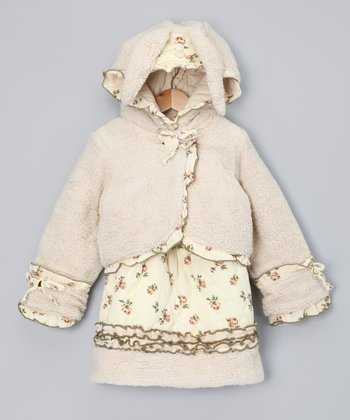 Cream Floral Dress & Plum Jacket - Toddler & Girls