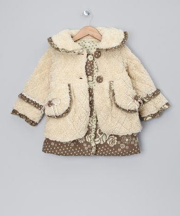 Brown Heart Dress & Ivory Coat - Toddler & Girls