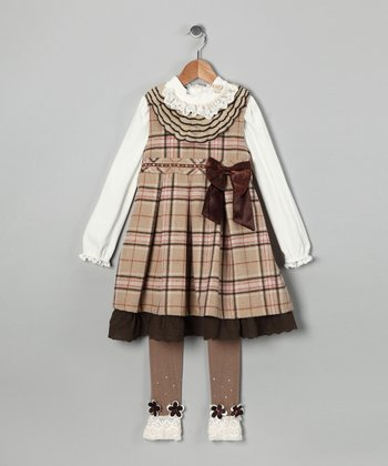 Brown Plaid Dress Set - Toddler & Girls