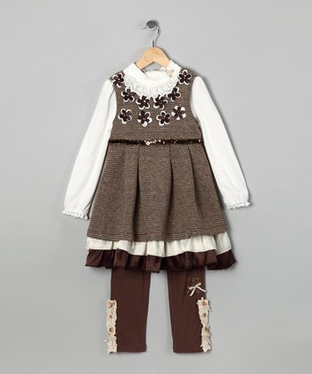 Brown Flower Dress Set - Toddler & Girls