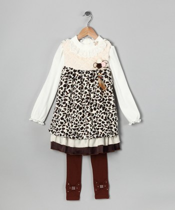 Beige & Brown Leopard Dress Set - Toddler & Girls