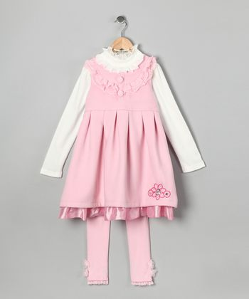 Pink Pleated Dress Set - Toddler & Girls